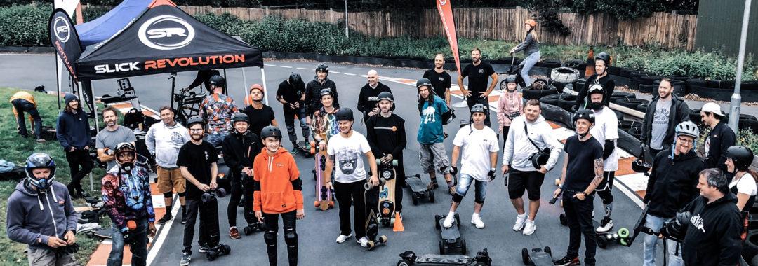 Electric skate board crew at Brighton Karting